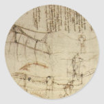 Diseño para una máquina de vuelo de Leonardo da Etiquetas Redondas