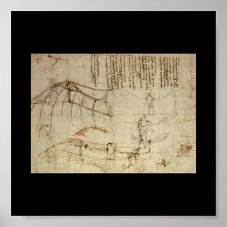 Diseño para una máquina de vuelo de Leonardo da Vi Póster