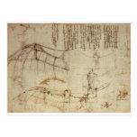 Diseño para una máquina de vuelo de Leonardo da Vi Postal