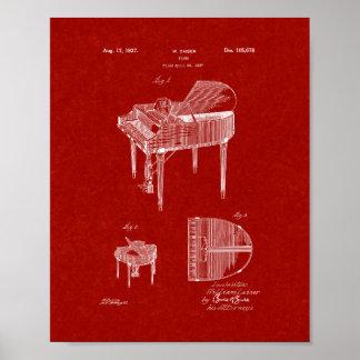 Diseño para una patente del piano - rojo de póster