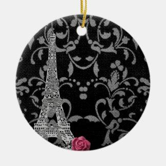 Diseño parisiense del damasco blanco y negro