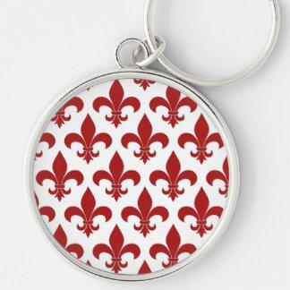 Diseño parisiense del modelo francés de la flor de llavero redondo plateado