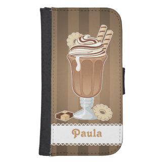 Diseño pasado de moda lindo del milkshake del fundas billetera para teléfono
