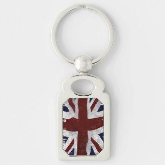 Diseño patriótico británico de Union Jack de la Llavero Plateado Rectangular