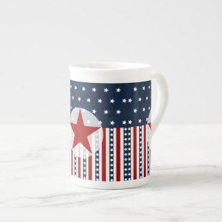 Diseño patriótico de la bandera americana de las b tazas de porcelana