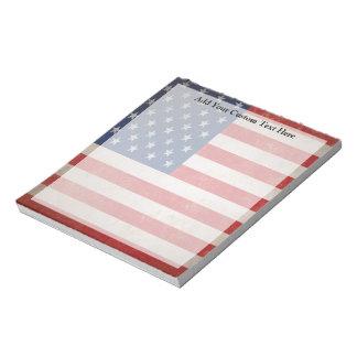 Diseño patriótico de la bandera americana del Grun Blocs De Notas