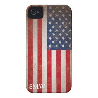 Diseño patriótico de la bandera de los E E U U de iPhone 4 Carcasas