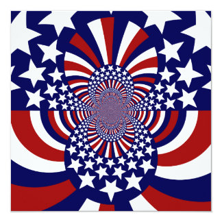 """Diseño patriótico de las barras y estrellas de los invitación 5.25"""" x 5.25"""""""
