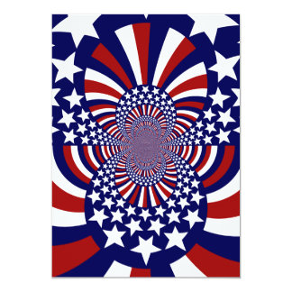 """Diseño patriótico de las barras y estrellas de los invitación 5"""" x 7"""""""