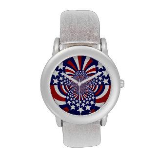 Diseño patriótico de las barras y estrellas de los relojes