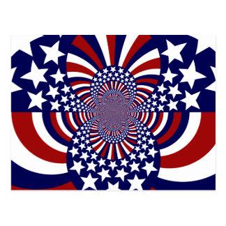 Diseño patriótico de las barras y estrellas de los postal