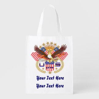 Diseño patriótico del frente del 4 de julio bolsas para la compra