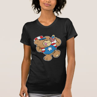 diseño patriótico lindo del oso de peluche de los playera