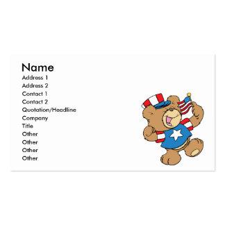 diseño patriótico lindo del oso de peluche de los tarjetas de visita