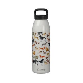 Diseño pedigrí lindo del papel pintado del perro c botella de agua