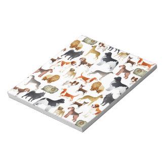 Diseño pedigrí lindo del papel pintado del perro c blocs de notas