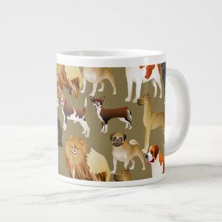 Diseño pedigrí lindo del papel pintado del perro c taza extra grande