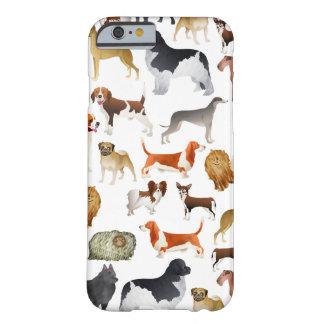 Diseño pedigrí lindo del papel pintado del perro funda de iPhone 6 barely there