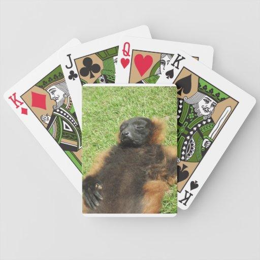 Diseño perezoso del mono baraja cartas de poker
