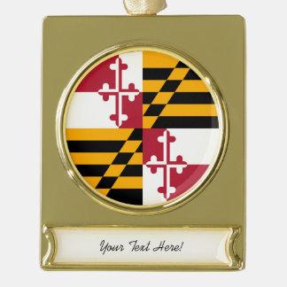 Diseño personalizado de la bandera del estado de adornos navideños dorados