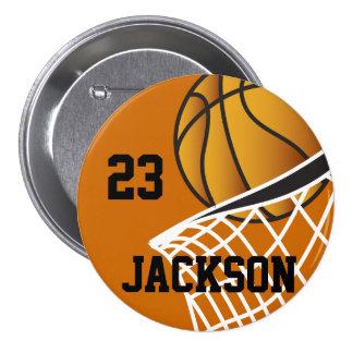 Diseño personalizado del aro de baloncesto pin redondo de 3 pulgadas