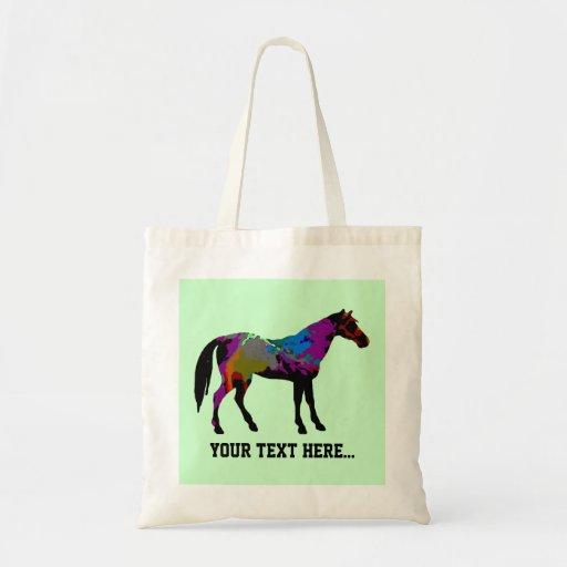 Diseño personalizado del caballo de raza en verde  bolsas