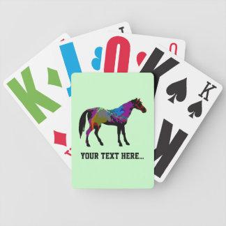 Diseño personalizado del caballo de raza en verde  baraja cartas de poker
