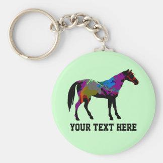 Diseño personalizado del caballo de raza en verde  llavero redondo tipo pin