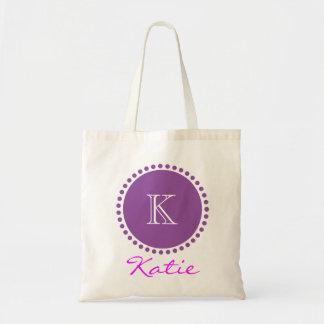 Diseño personalizado monograma violeta bolsas