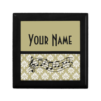 Diseño personalizado regalo del damasco de la músi cajas de regalo