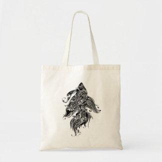 Diseño-Pescados negros y blancos del tatuaje Bolsa Tela Barata