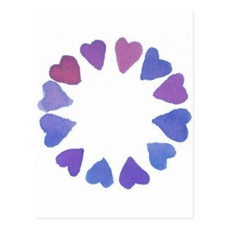 diseño pintado a mano del corazón de la acuarela postal