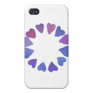 diseño pintado a mano del corazón de la acuarela v iPhone 4/4S fundas