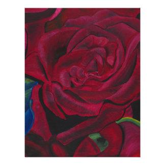 Diseño pintado a mano original de los rosas rojos plantilla de membrete