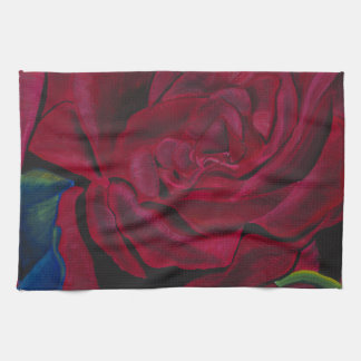 Diseño pintado a mano original de los rosas rojos toallas de mano