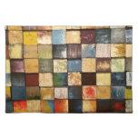 Diseño pintado colorido de los cuadrados del manteles individuales