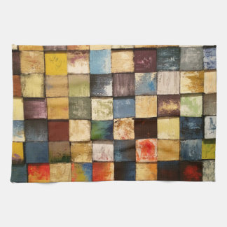 Diseño pintado colorido de los cuadrados del toallas de cocina