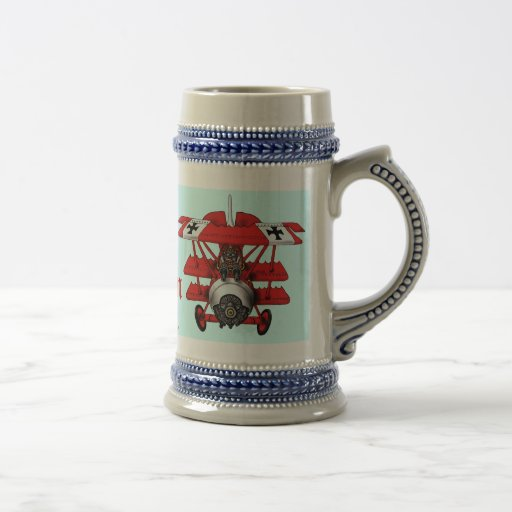 Diseño plano de la taza de cerveza del barón rojo