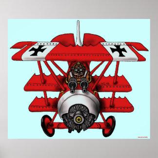 Diseño plano del poster del arte del barón rojo fr