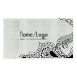 Diseño-Plantilla retra negra y blanca de la flor Tarjeta Personal