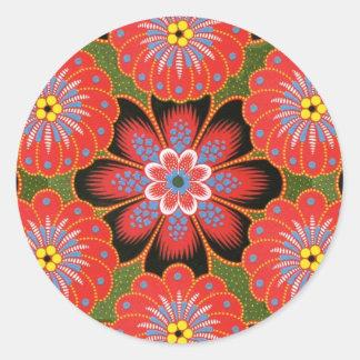 Diseño polaco de la pintura de Tole Pegatina Redonda