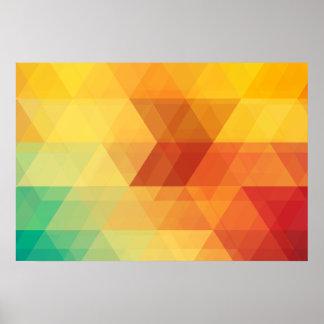 Diseño poligonal del otoño colorido póster