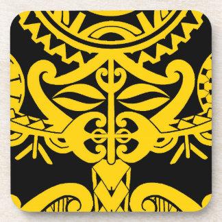 Diseño polinesio de la mandala del tatuaje del posavasos de bebida
