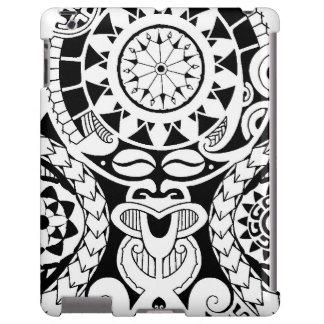 Diseño polinesio del tatuaje con la máscara del la funda para iPad