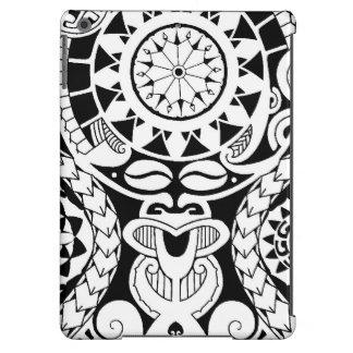 Diseño polinesio del tatuaje con la máscara del la funda para iPad air