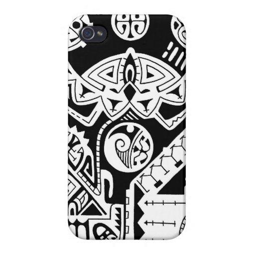 Diseño polinesio del tatuaje del lagarto y de la m iPhone 4 protectores
