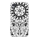 Diseño polinesio del tatuaje del sol y de la másca iPhone 4/4S funda