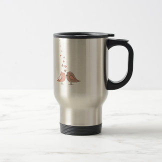 diseño precioso de los pájaros de los pares lindos taza de viaje