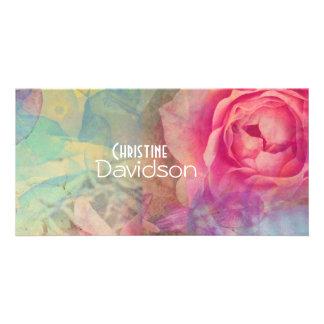 Diseño precioso de los rosas tarjeta fotografica personalizada