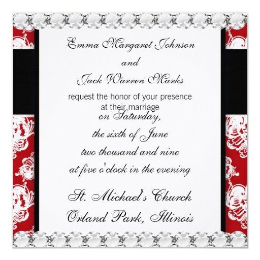 diseño precioso del damasco romántico grande invitación 13,3 cm x 13,3cm